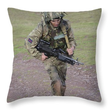 Welsh Guards Training Throw Pillow by Andrew Chittock