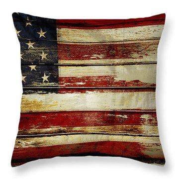 American Flag 54 Throw Pillow