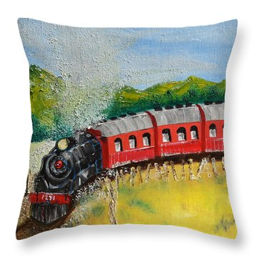 1271 Steam Engine Throw Pillow by Denise Tomasura