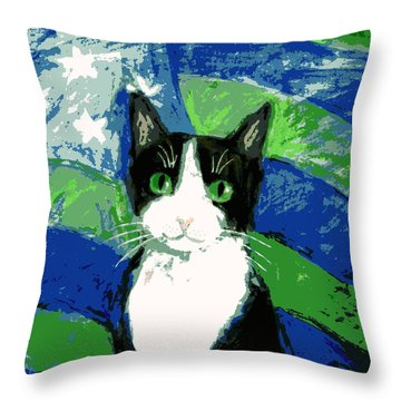 Cat With Stars And Stripes Throw Pillow