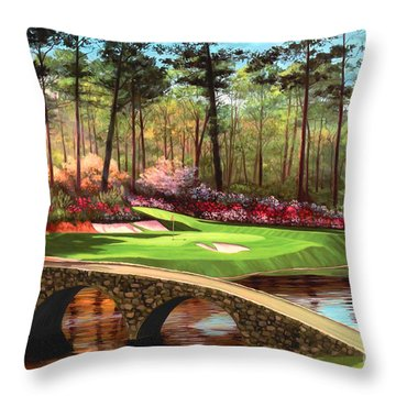 12th Hole At Augusta  Throw Pillow