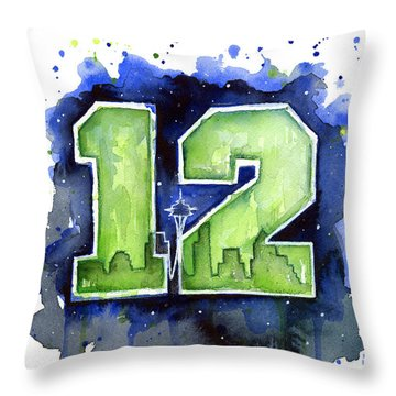 12th Man Seahawks Art Seattle Go Hawks Throw Pillow by Olga Shvartsur