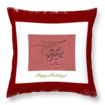 Happy Holidays Throw Pillow by Oksana Semenchenko
