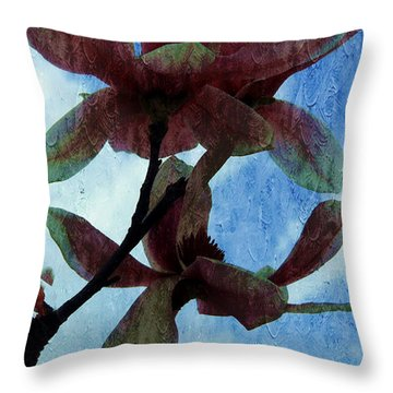 Pink Magnolia Flowers  Throw Pillow