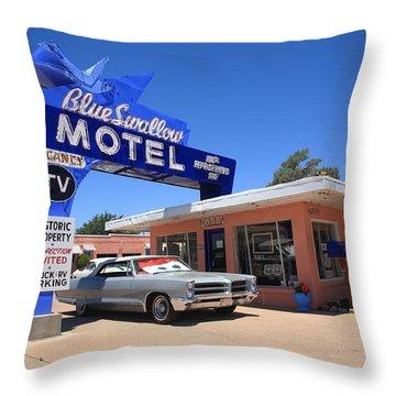 Route 66 - Blue Swallow Motel Throw Pillow