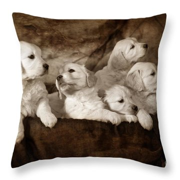 Vintage Festive Puppies Throw Pillow by Angel  Tarantella