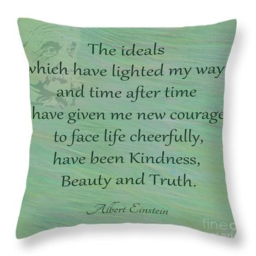 132- Albert Einstein Throw Pillow by Joseph Keane