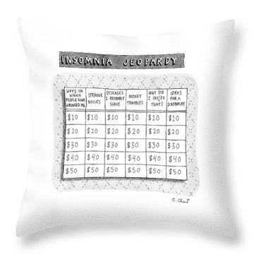 Insomnia Jeopardy Throw Pillow by Roz Chast