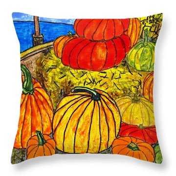 14 Pumpkins Throw Pillow by Phil Strang