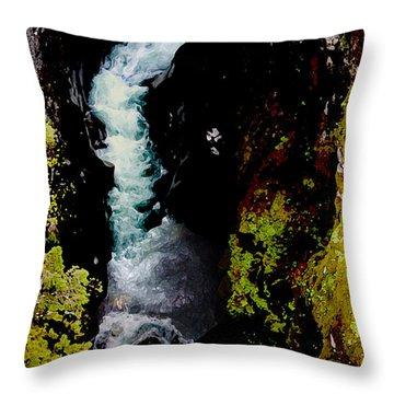 1425 Avalanche Gorge Glacier Park Montana Throw Pillow