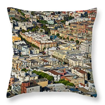 Aerial View Of Buildings In A City Throw Pillow