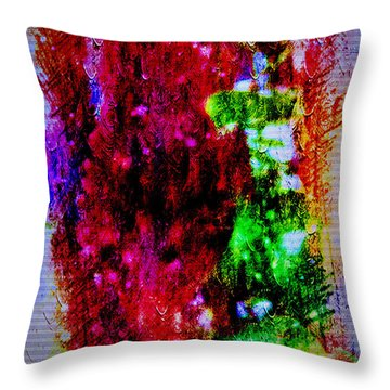 Red Clovers In Abstract Throw Pillow