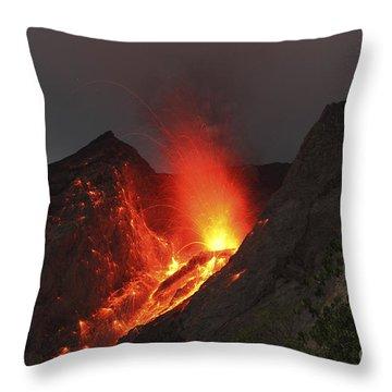 Strombolian Type Eruption Of Batu Tara Throw Pillow by Richard Roscoe