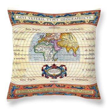 1590 Historical World Rare Map Aevi Veteris Typus Geographicus Throw Pillow by Karon Melillo DeVega