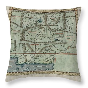 1597 Ptolemy  Magini  Keschedt Map Of Pakistan Iran And Afghanistan Throw Pillow by Paul Fearn