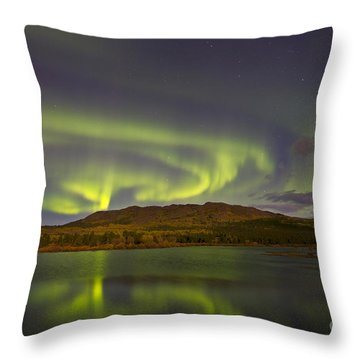 Aurora Borealis With Moonlight At Fish Throw Pillow by Joseph Bradley
