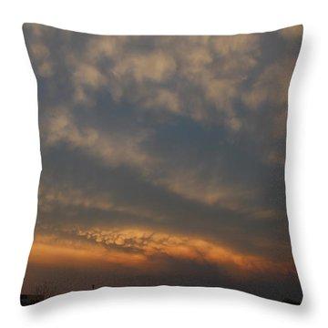 Throw Pillow featuring the photograph Nebraska Mammatus Sunset by NebraskaSC