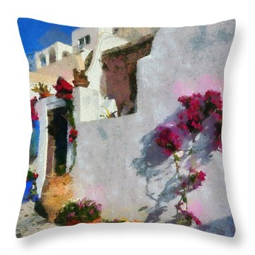 Oia Town Throw Pillow