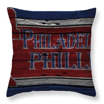 Philadelphia Phillies Throw Pillow by Joe Hamilton