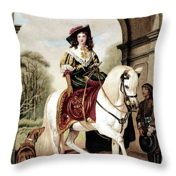 1600s Woman Riding Sidesaddle Painting Throw Pillow