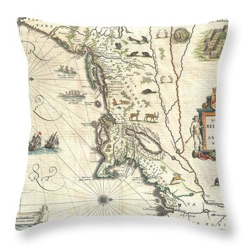 1635 Blaeu Map Of New England And New York Throw Pillow by Paul Fearn