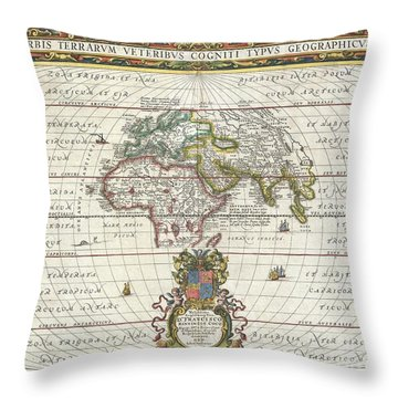 1650 Jansson Map Of The Ancient World Throw Pillow by Paul Fearn