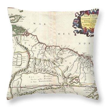 1656 Sanson Map Of Guiana Venezuela And El Dorado Throw Pillow by Paul Fearn