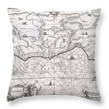 1670 Ogilby Map Of West Africa  Gold Coast Slave Coast Ivory Coast Throw Pillow by Paul Fearn