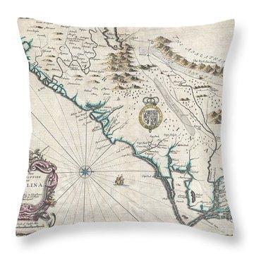 1676 John Speed Map Of Carolina Throw Pillow by Paul Fearn