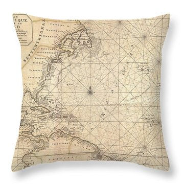 1683 Mortier Map Of North America The West Indies And The Atlantic Ocean  Throw Pillow