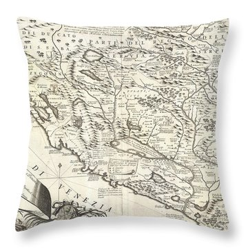 1690 Coronelli Map Of Montenegro Throw Pillow