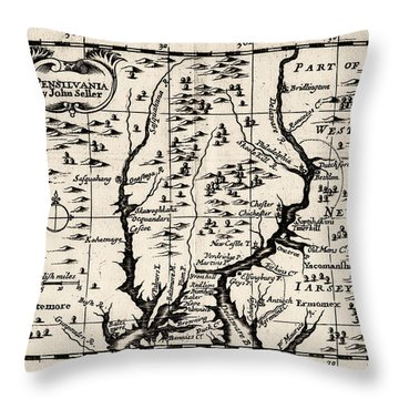 1690 Pennsylvania Map Throw Pillow by Bill Cannon