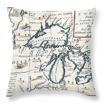 1696 Coronelli Map Of The Great Lakes Throw Pillow by Paul Fearn