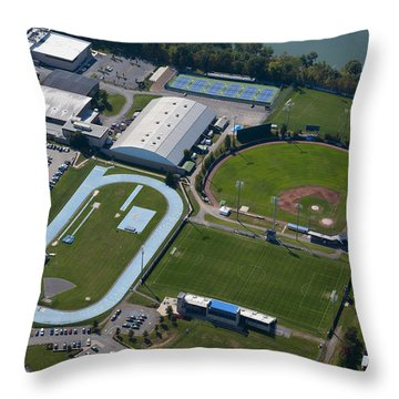 aerials of WVVU campus Throw Pillow by Dan Friend