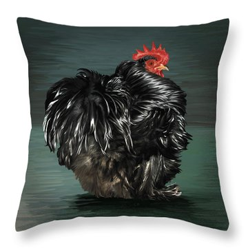 17. Black Frizzle Cochin Bantam Throw Pillow