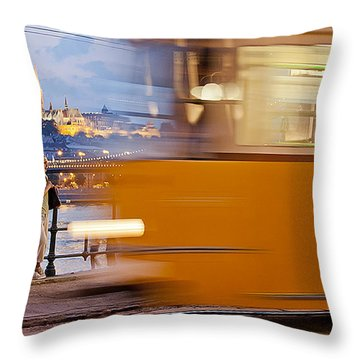 Budapest By Night Throw Pillow