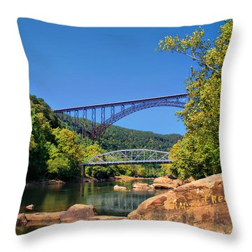 New River Gorge Bridge Throw Pillow by Mary Almond
