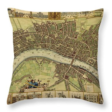 17 Th Century Map Of London England Throw Pillow by Melissa Messick