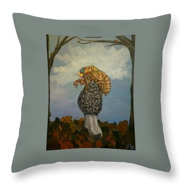 17 Year Cicada With Morel Throw Pillow