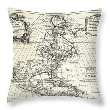 1708 De Lisle Map Of North America Throw Pillow by Paul Fearn