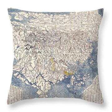 1710 First Japanese Buddhist Map Of The World Showing Europe America And Africa Throw Pillow by Paul Fearn