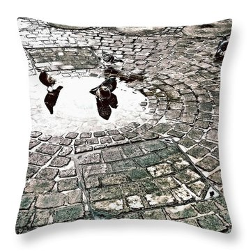 Pigeons In A Puddle Throw Pillow