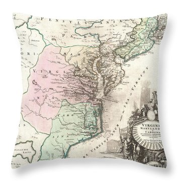 1715 Homann Map Of Carolina Virginia Maryland And New Jersey Throw Pillow by Paul Fearn