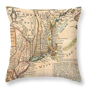1729 Moll Map Of New York New England And Pennsylvania  Throw Pillow by Paul Fearn