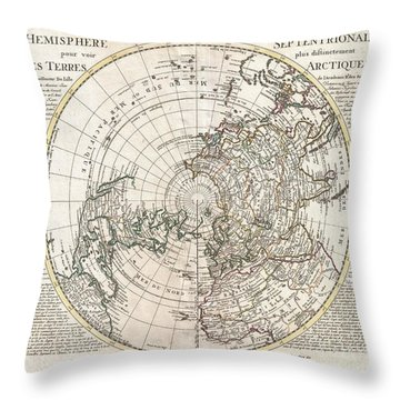 1741 Covens And Mortier Map Of The Northern Hemisphere  North Pole Arctic Throw Pillow by Paul Fearn