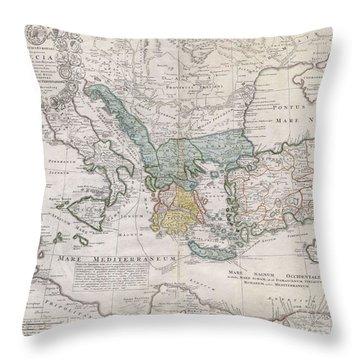 1741 Homann Heirs Map Of Ancient Greece  The Eastern Mediterranean Throw Pillow