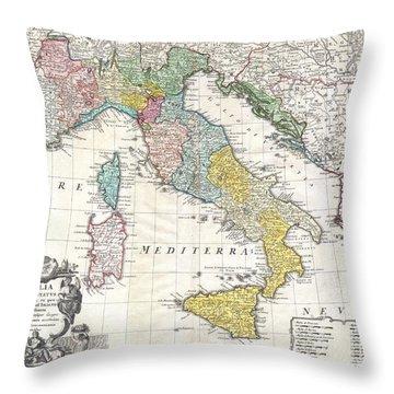 1742 Homann Heirs Map Of Italy Throw Pillow
