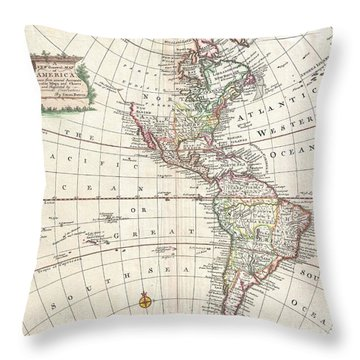 1747 Bowen Map Of North America And South America Throw Pillow by Paul Fearn