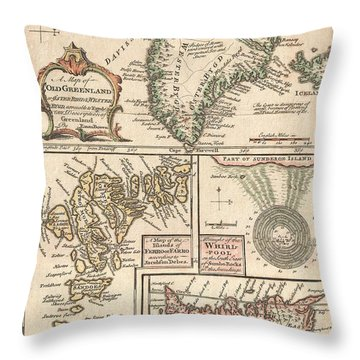 1747 Bowen Map Of The North Atlantic Islands Greenland Iceland Faroe Islands Throw Pillow by Paul Fearn