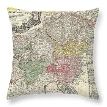 1747 Homann Heirs Map Of Austria And Bohemia Throw Pillow